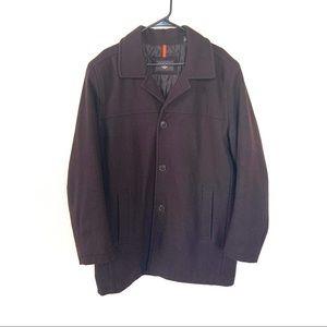 Men's Dockers Wool Blend Brown Pea Coat Large